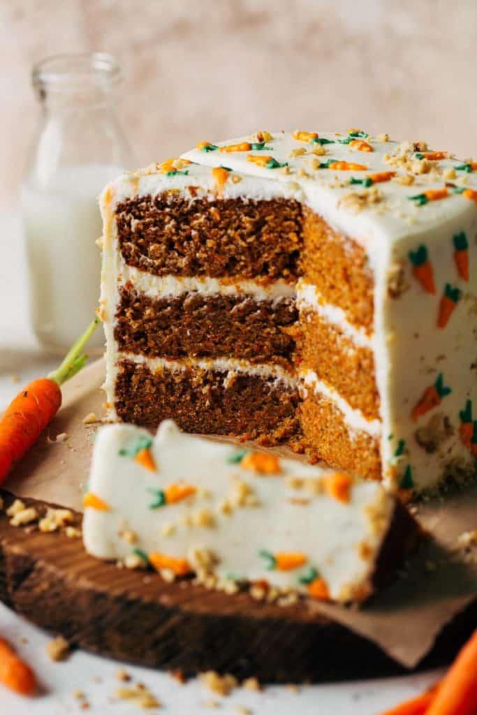 the inside of a sliced carrot cake