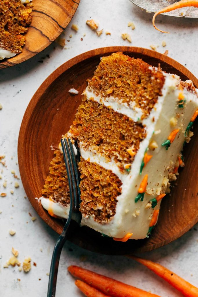 close up on a slice of carrot cake