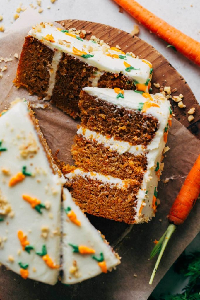 the top view of a sliced carrot cake