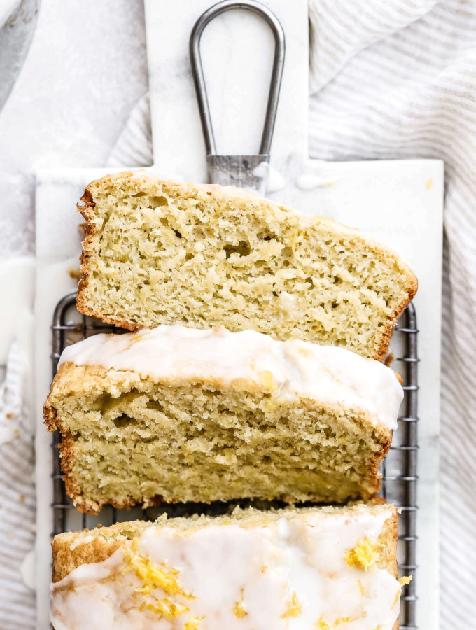 lemon zucchini bread with a few slices