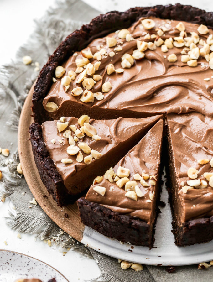 a nutella pie with a few slices made