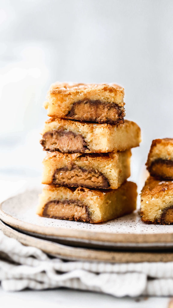 a stack of reese's stuffed brownies