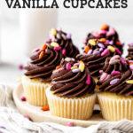 Brown Butter Vanilla Cupcakes pinterest graphic