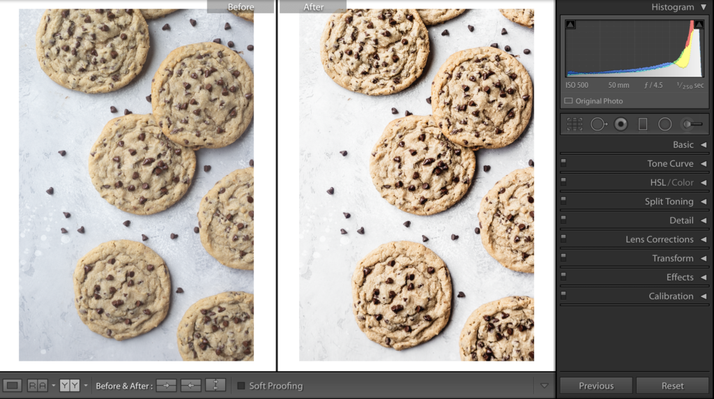 before and after photo of peanut butter cookies using lightroom