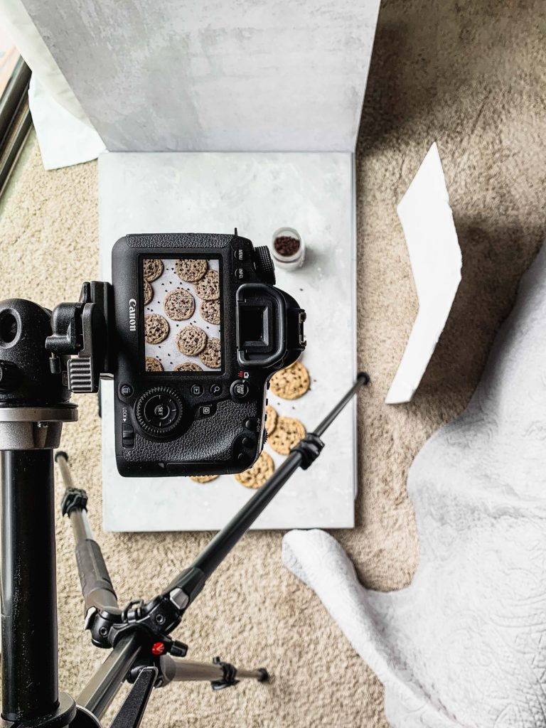 overhead shot of food photography set up
