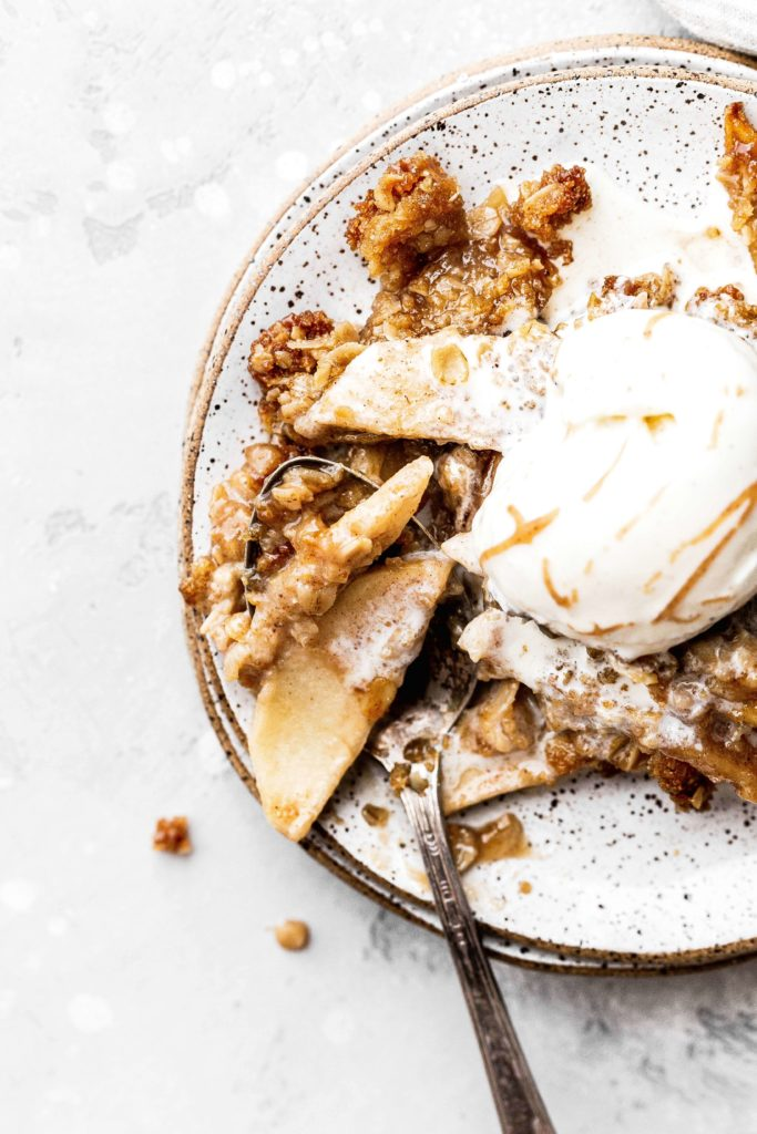 a plate of gluten free apple crisp