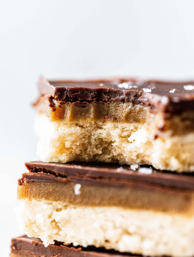 a stack of millionaire shortbread