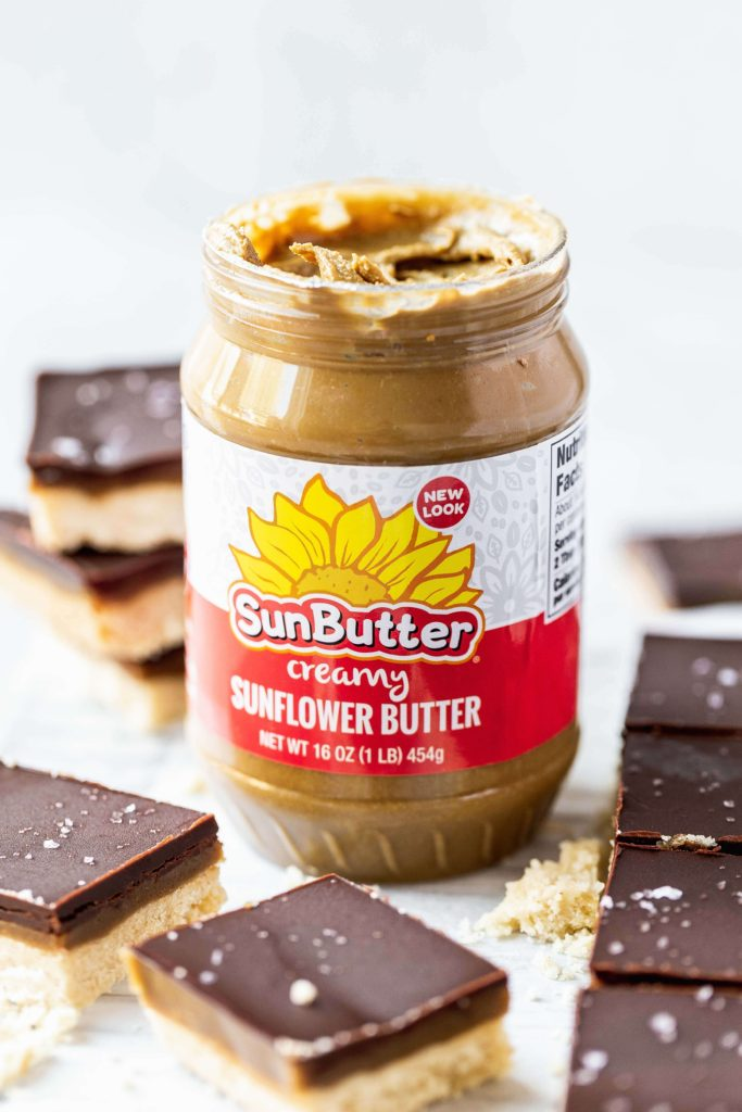 a jar of sunbutter used in millionaire bars