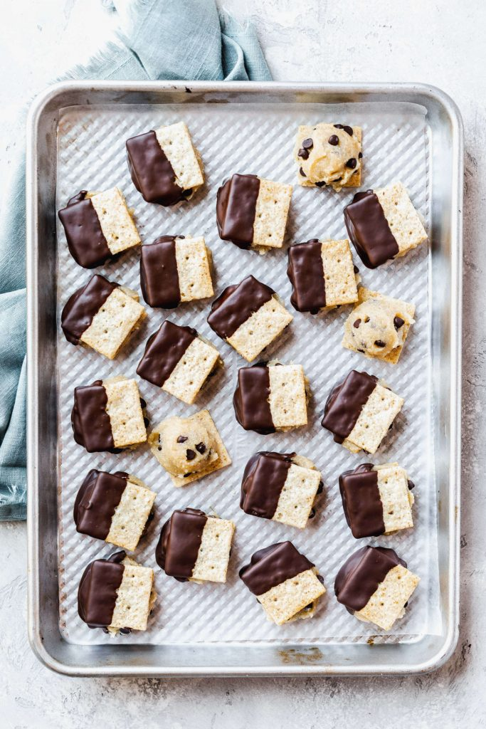 a tray of vegan cookie dough sandwich crackers