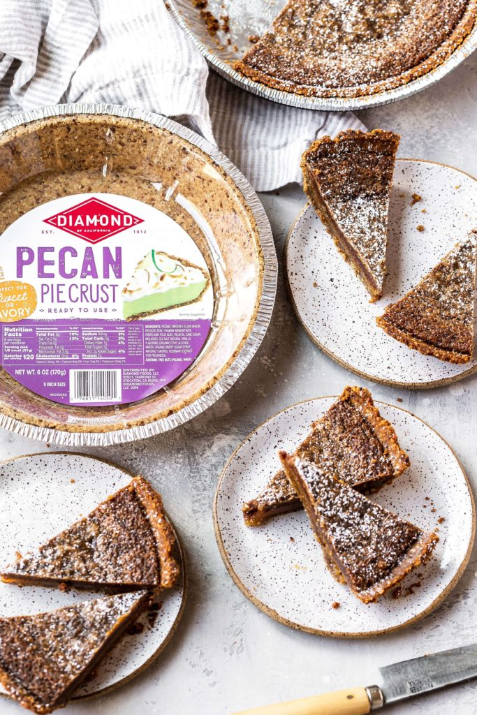 cinnamon pie slices with the pecan crust shell