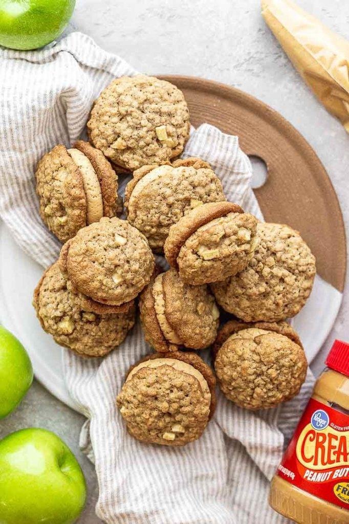 a tray of peanut butter apple sandwich cookies