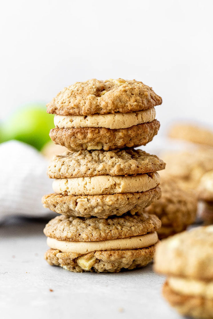 a stack of peanut butter apple sandwich cookies