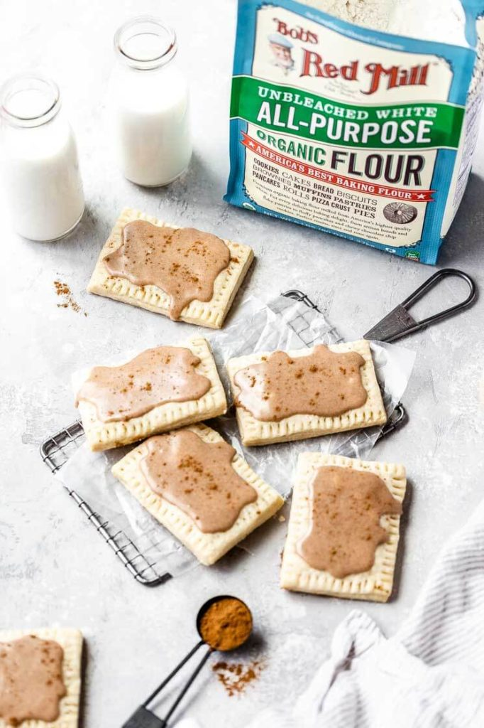 a tray of homemade frosted brown sugar cinnamon pop tarts