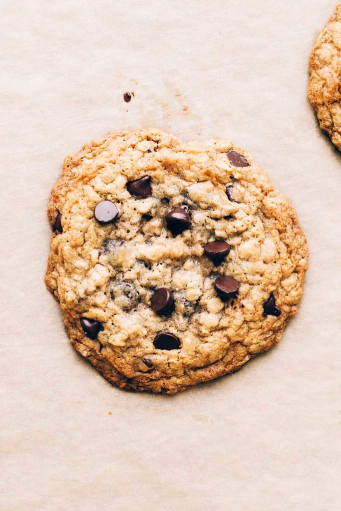 close up on a freshly baked gluten free oatmeal chocolate chip cookie