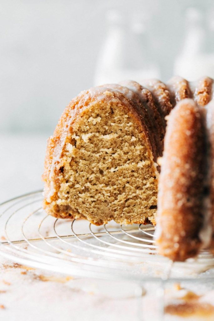 the inside of an apple cider bundt cake