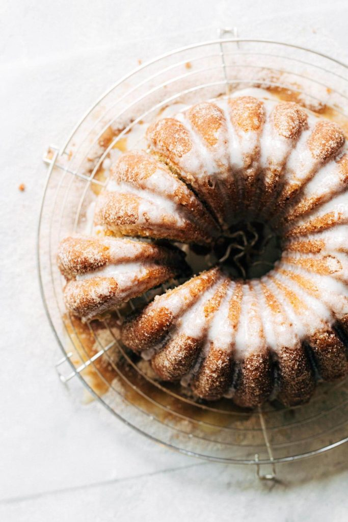 the top view of a sliced bundt cake