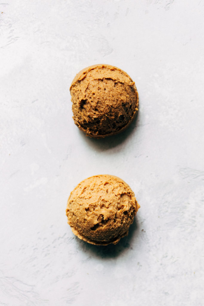 two scoops of molasses cookie dough