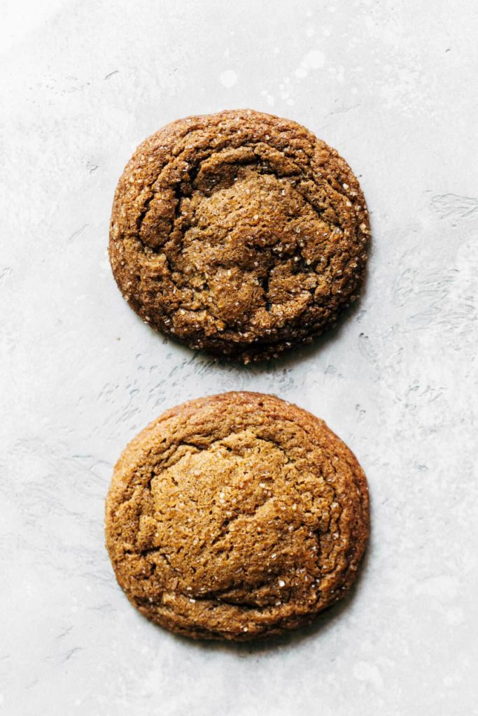comparing two molasses cookies, one with organic molasses and one with regular molasses