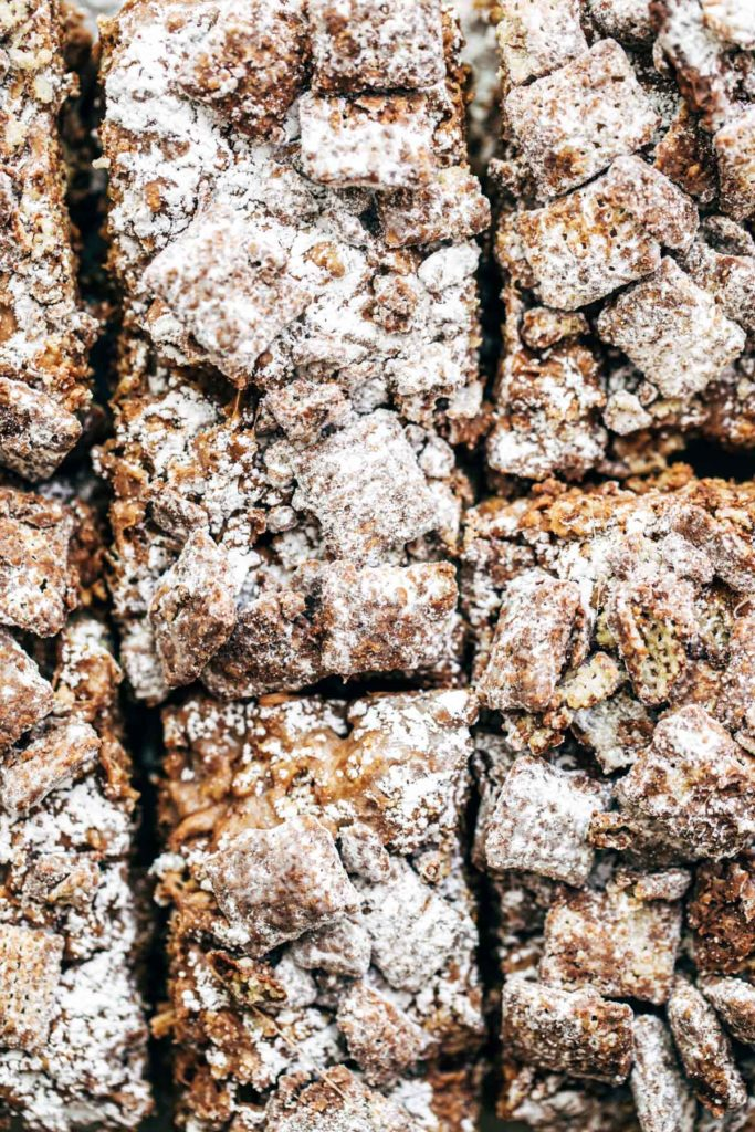 close up on puppy chow marshmallow treats