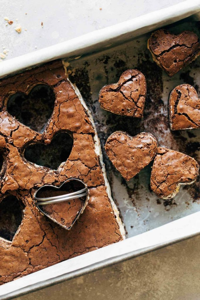 heart shaped cut outs of brownie ice cream sandwiches