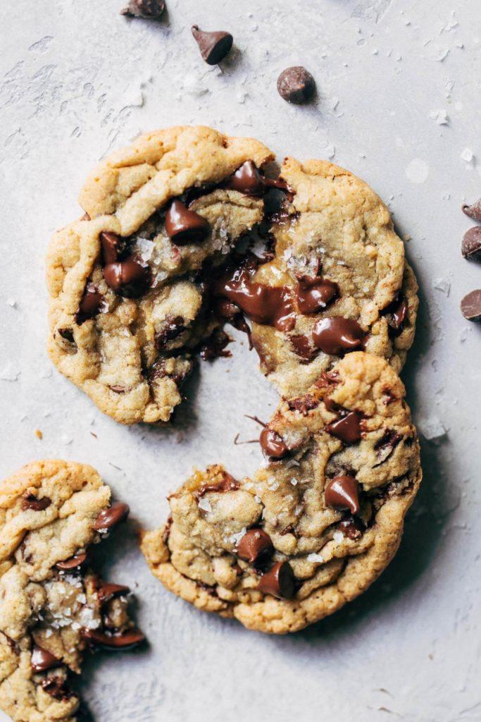 chocolate chip cookies split apart