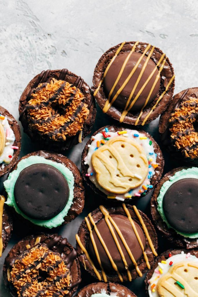 girl scout cookie brownie cups crowded together