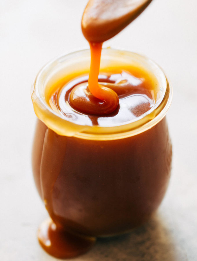 a jar of homemade salted caramel