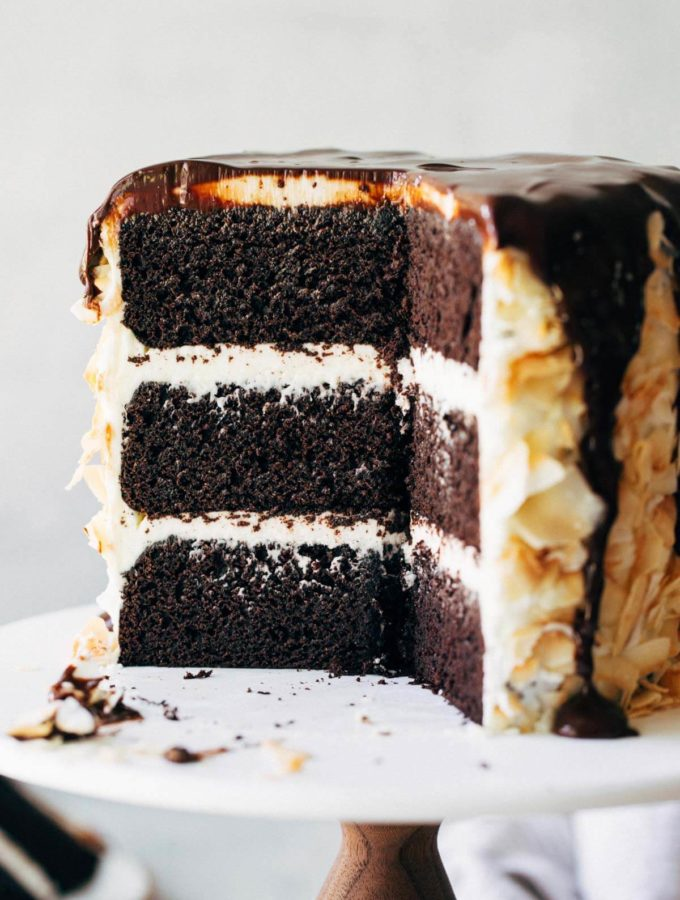 chocolate layer cake sliced to expose the center