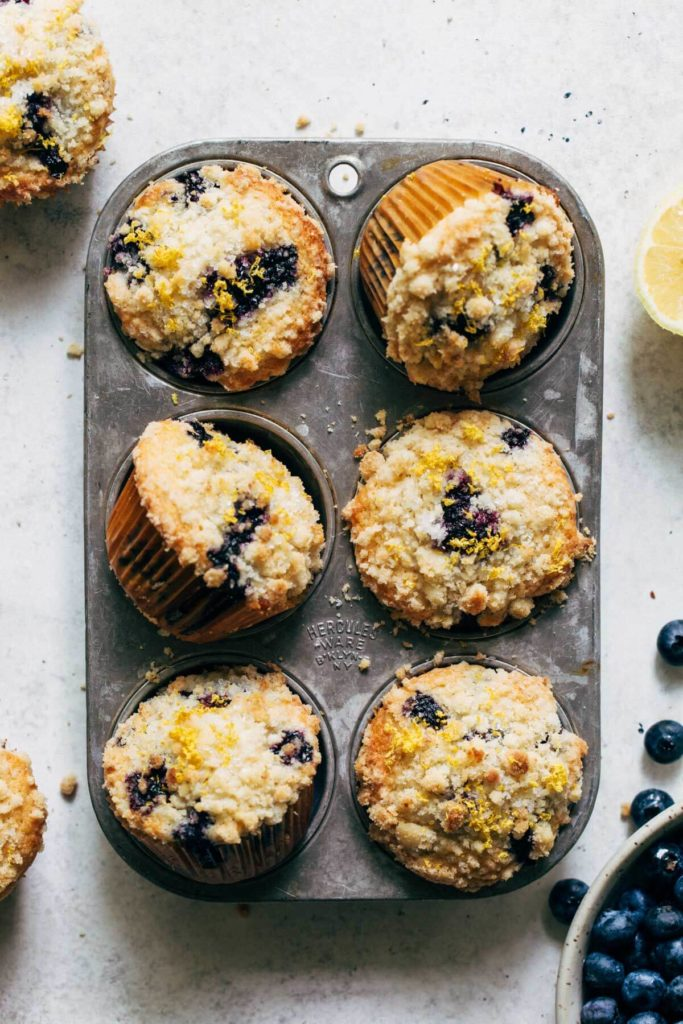 lemon blueberry muffins in a vintage muffin tin