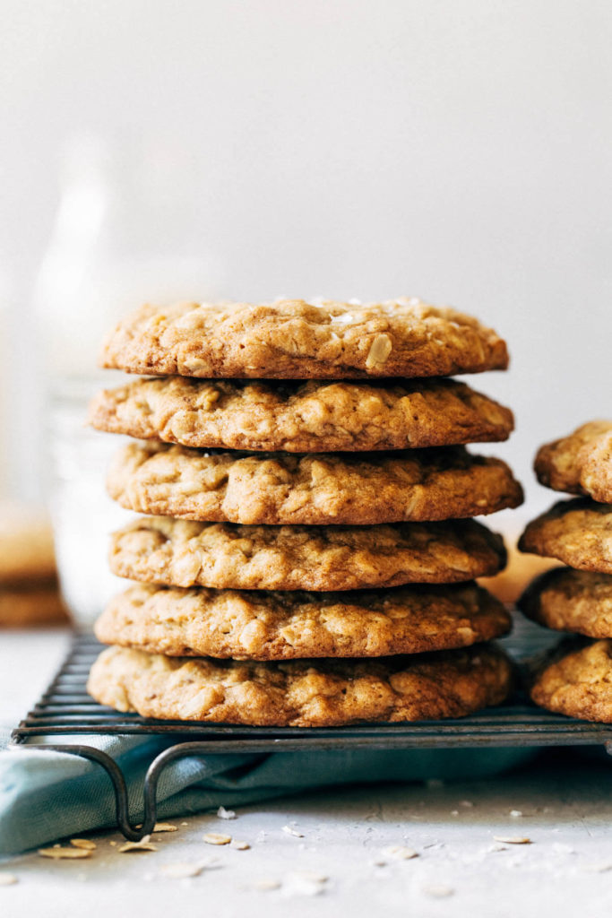 a stack of oatmeal cookies