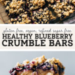 healthy blueberry crumble bars pinterest graphic
