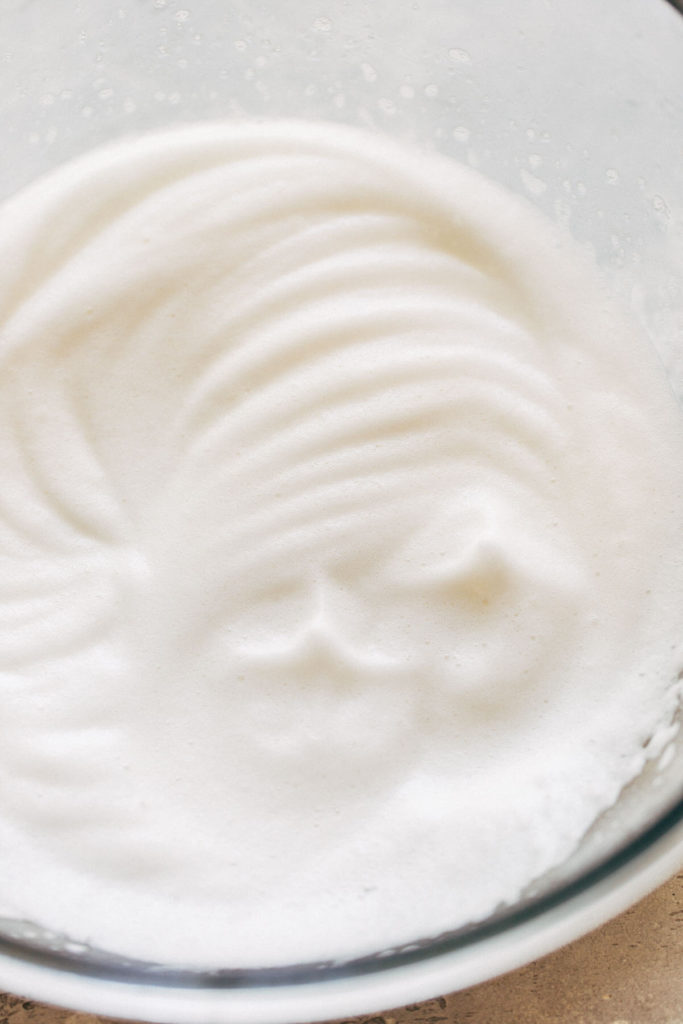 a bowl of whipped aquafaba