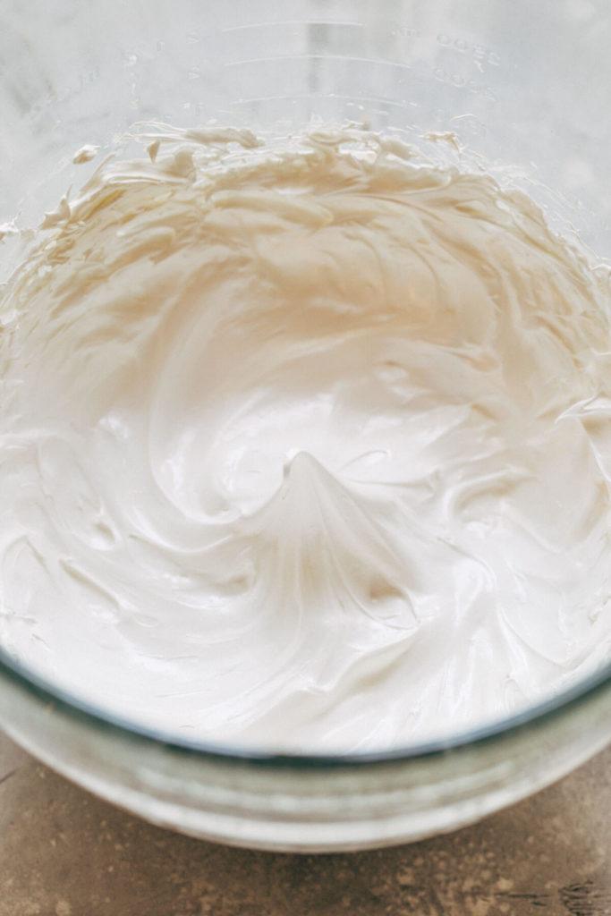 a bowl of marshmallow meringue
