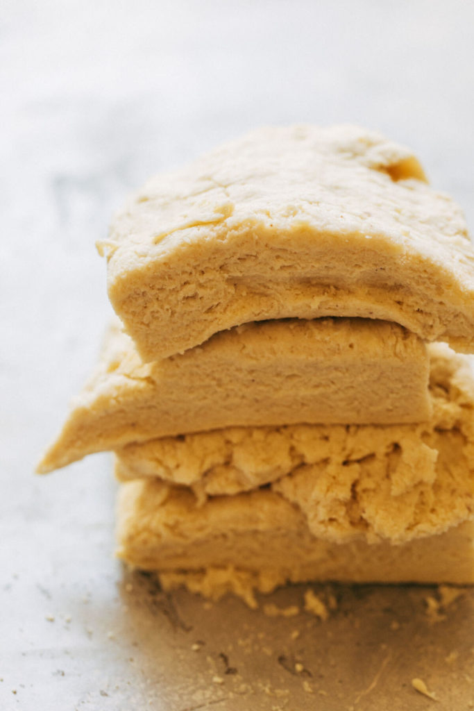 a stack of biscuit dough
