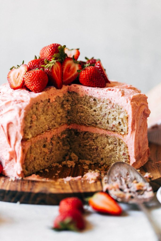 the inside of a strawberry layer cake