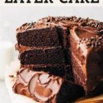 vegan chocolate cake pinterest graphic