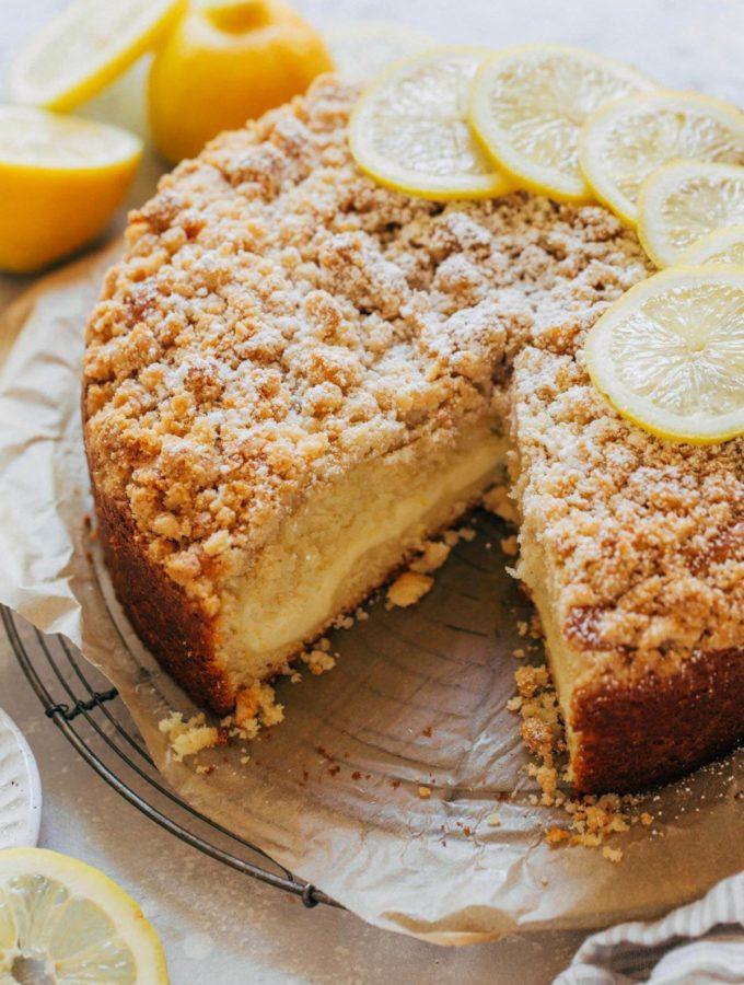 the inside of a cream cheese stuffed lemon coffee cake