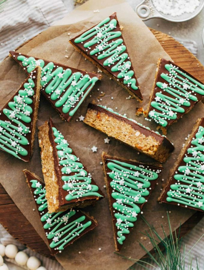 no bake bars scattered on a wooden block
