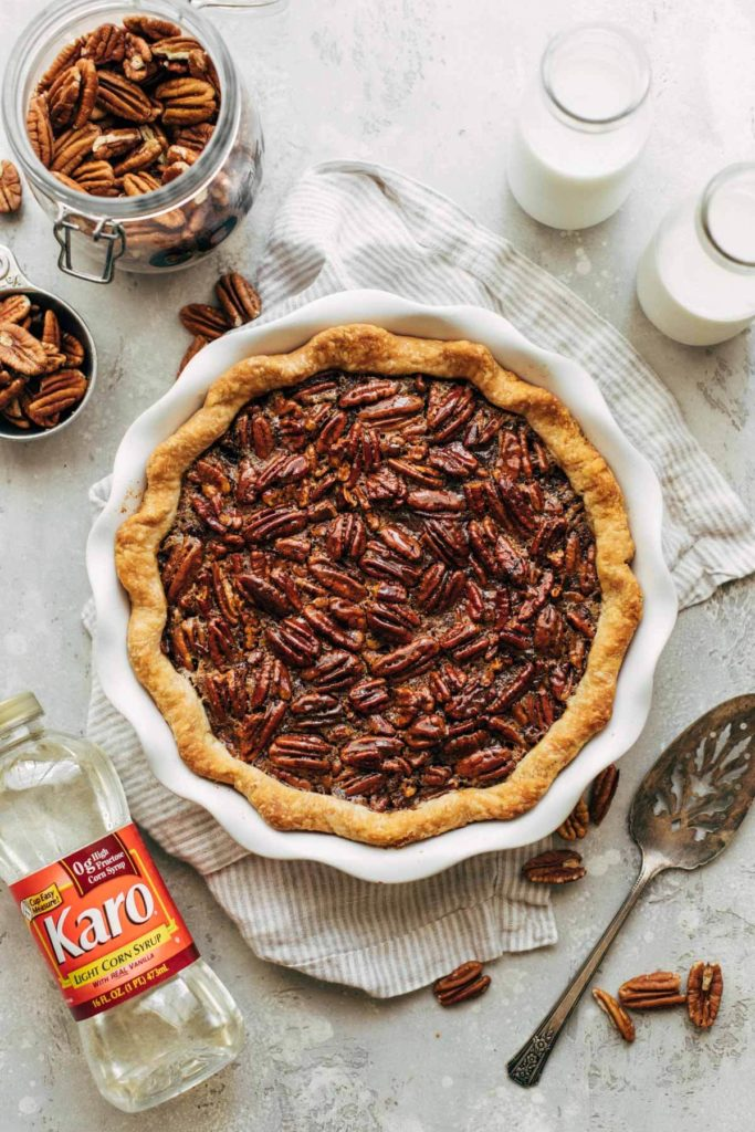 a whole pecan pie freshly baked