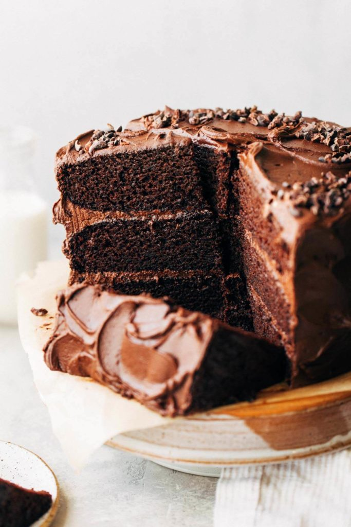 sliced chocolate cake on a cake stand