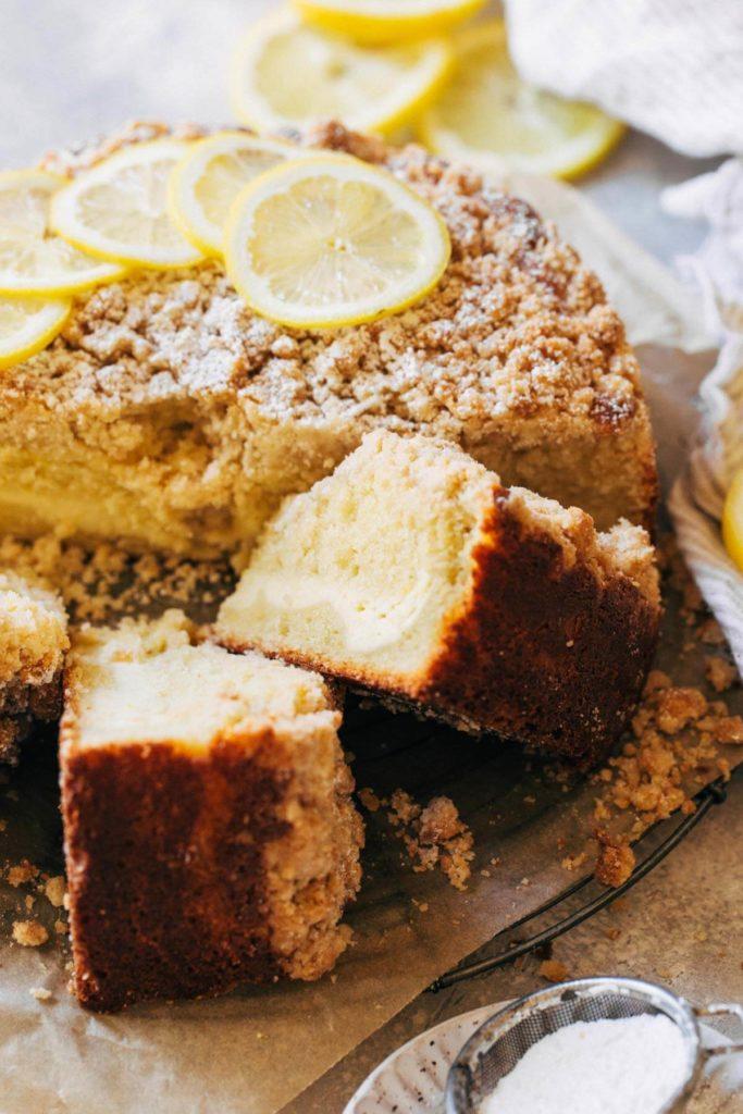 a sliced lemon coffee cake