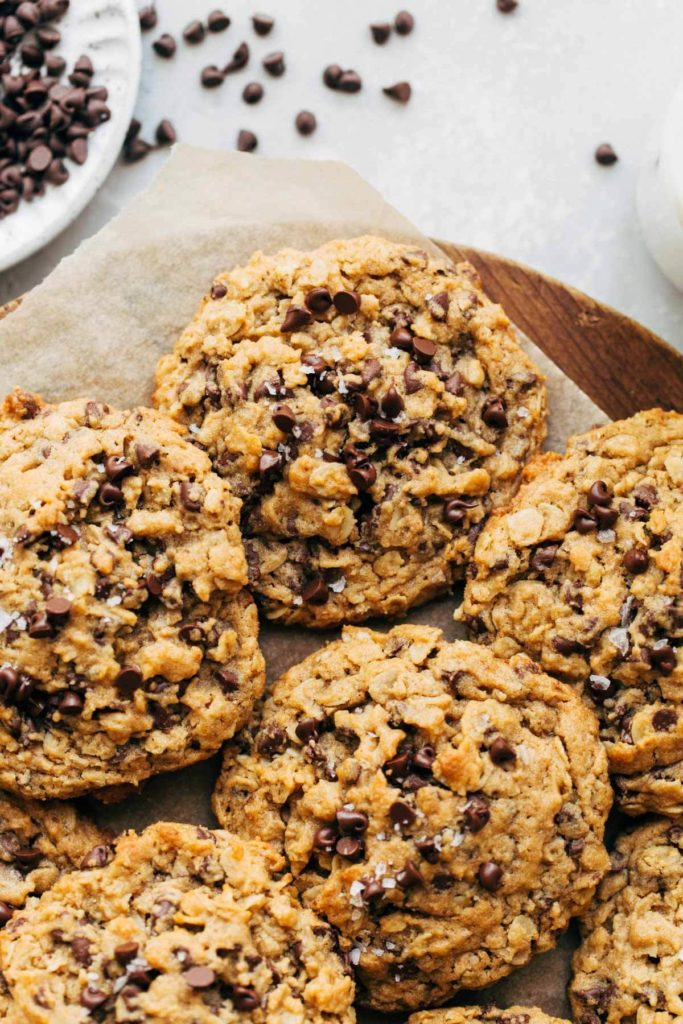 close up on the top of a peanut butter oatmeal chocolate chip cookie