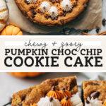 Pumpkin Chocolate Chip Cookie Cake pinterest graphic