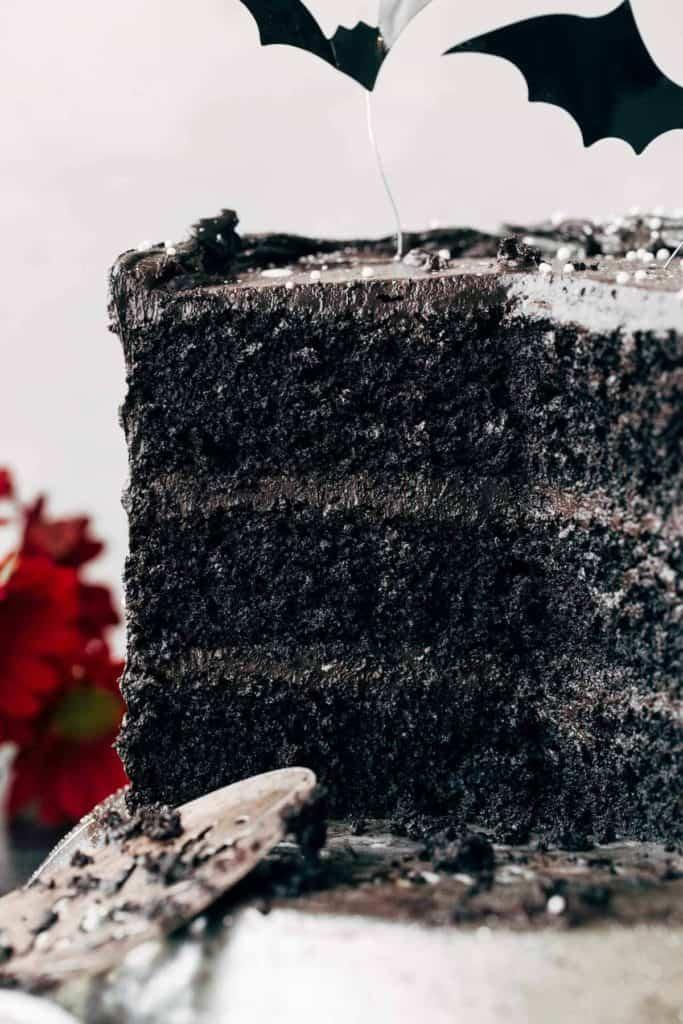 close up on the inside of black velvet cake