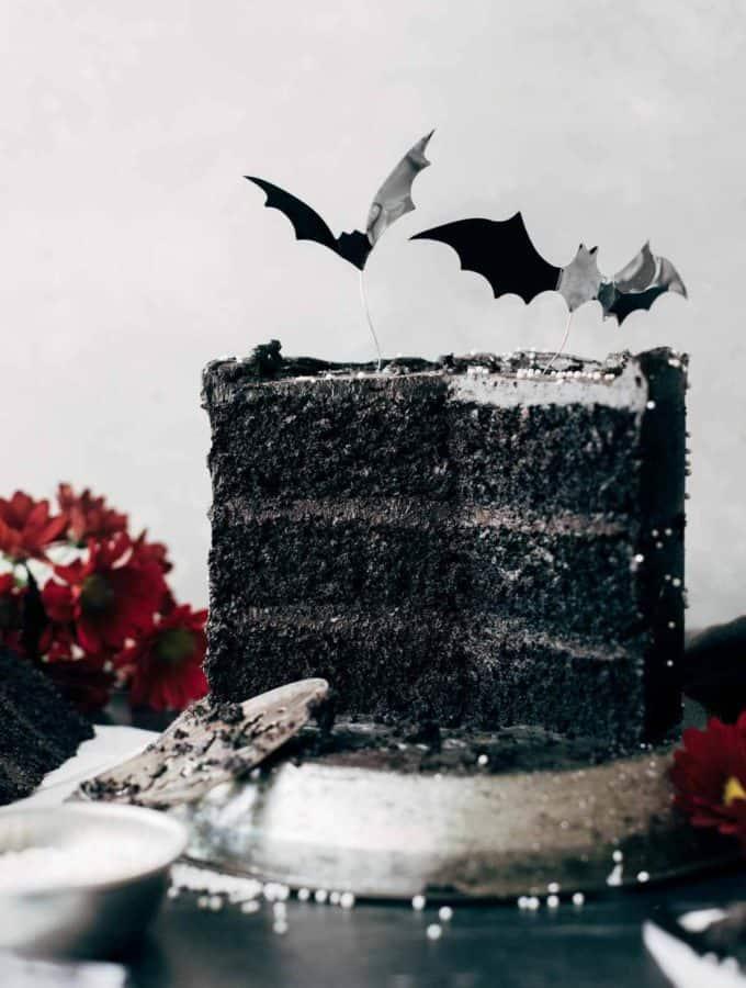 the inside of a sliced black velvet cake