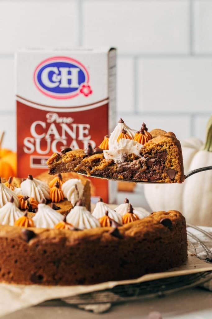 lifting pumpkin cookie cake slice