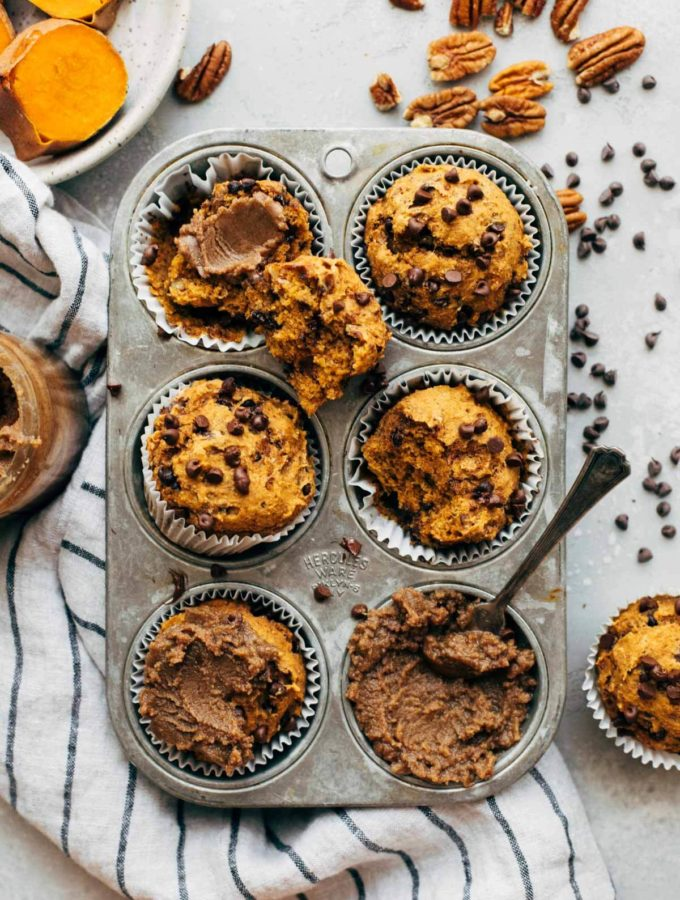sweet potato muffins in a vintage muffin tin