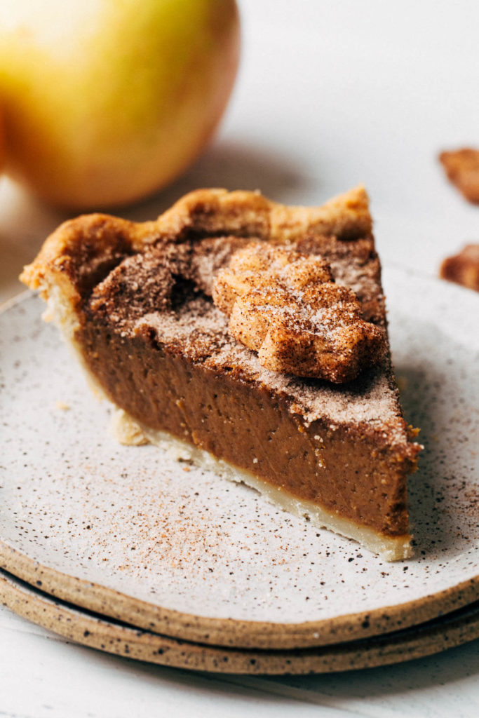 a slice of apple butter pie on a plate