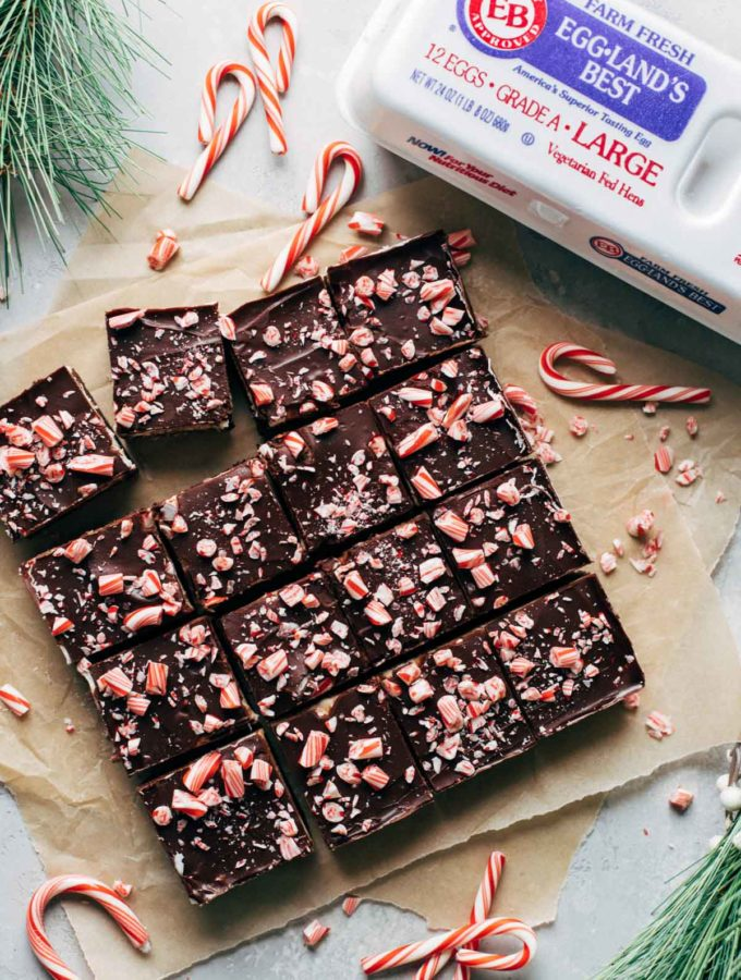 top view of sliced peppermint brownies with crushed candy canes on top