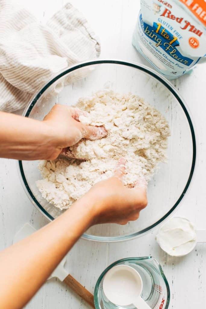 crumbling butter into flour
